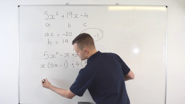 Factorising quadratics using the five step method