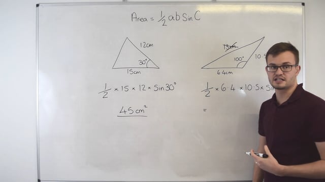 Finding the area of a triangle using sine