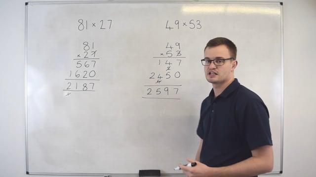 Multiplying numbers (Column method)