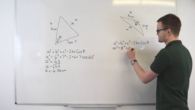 Finding a missing side using the cosine rule
