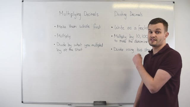 Method to use with multiplying or dividing decimals