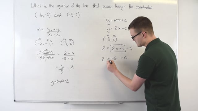 Finding the equation of a line given two coordinates