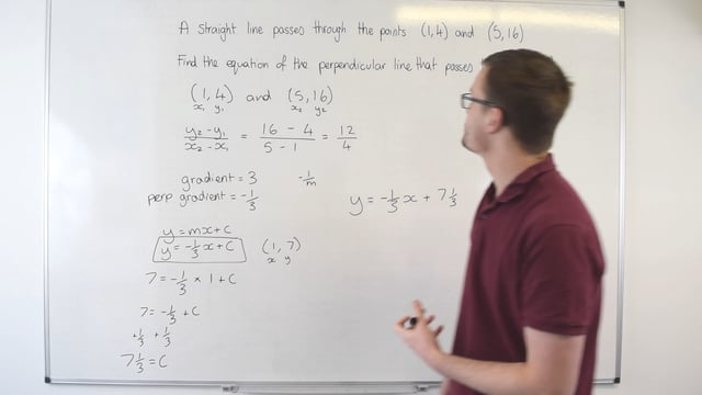Equation of a perpendicular line given two coordinates
