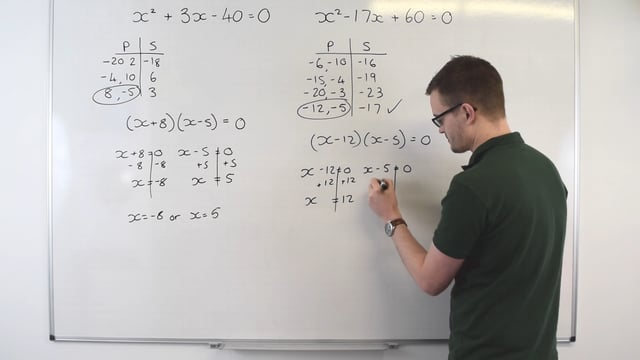 Solving quadratic equations by factorising
