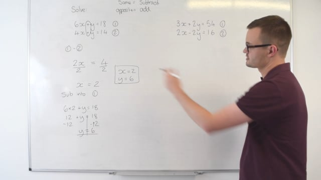 Simultaneous equations (same y coefficients)